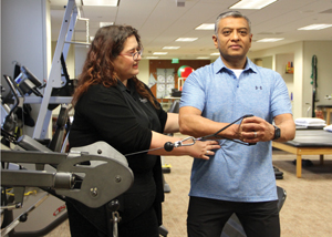 Physical therapist Michelle Heebner and Dr. Niraj Patel.